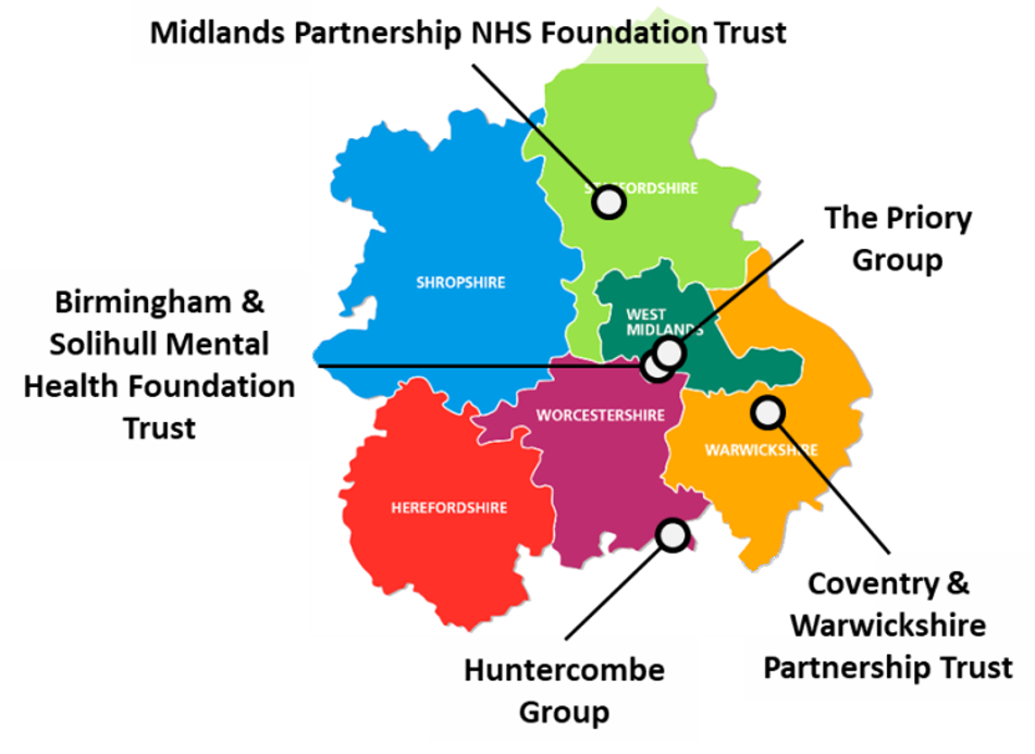 Map showing locations of partner organisations in the West Midlands